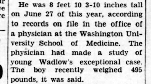 Robert Wadlow Official height